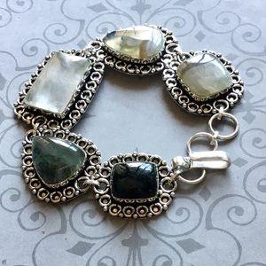 Clear Quartz Agate Moss Onyx Gemstone Bracelet